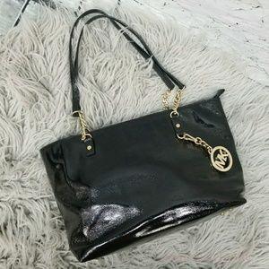 Michael Kors Black Patent Purse Bag Zipper Tote